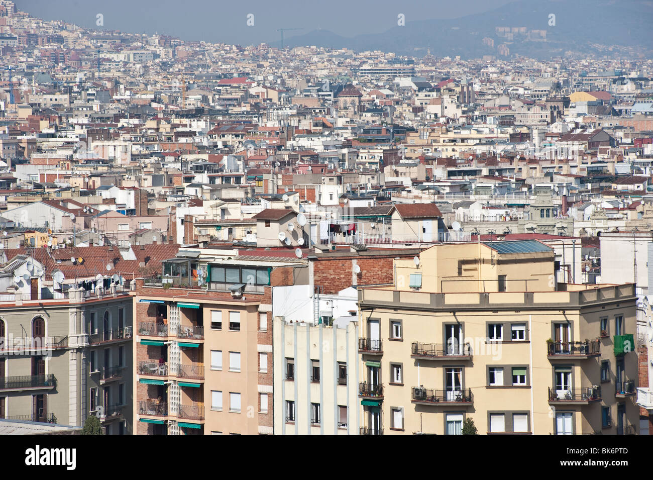 General view of Barcelona from Montjuic, SPain. - Stock Image