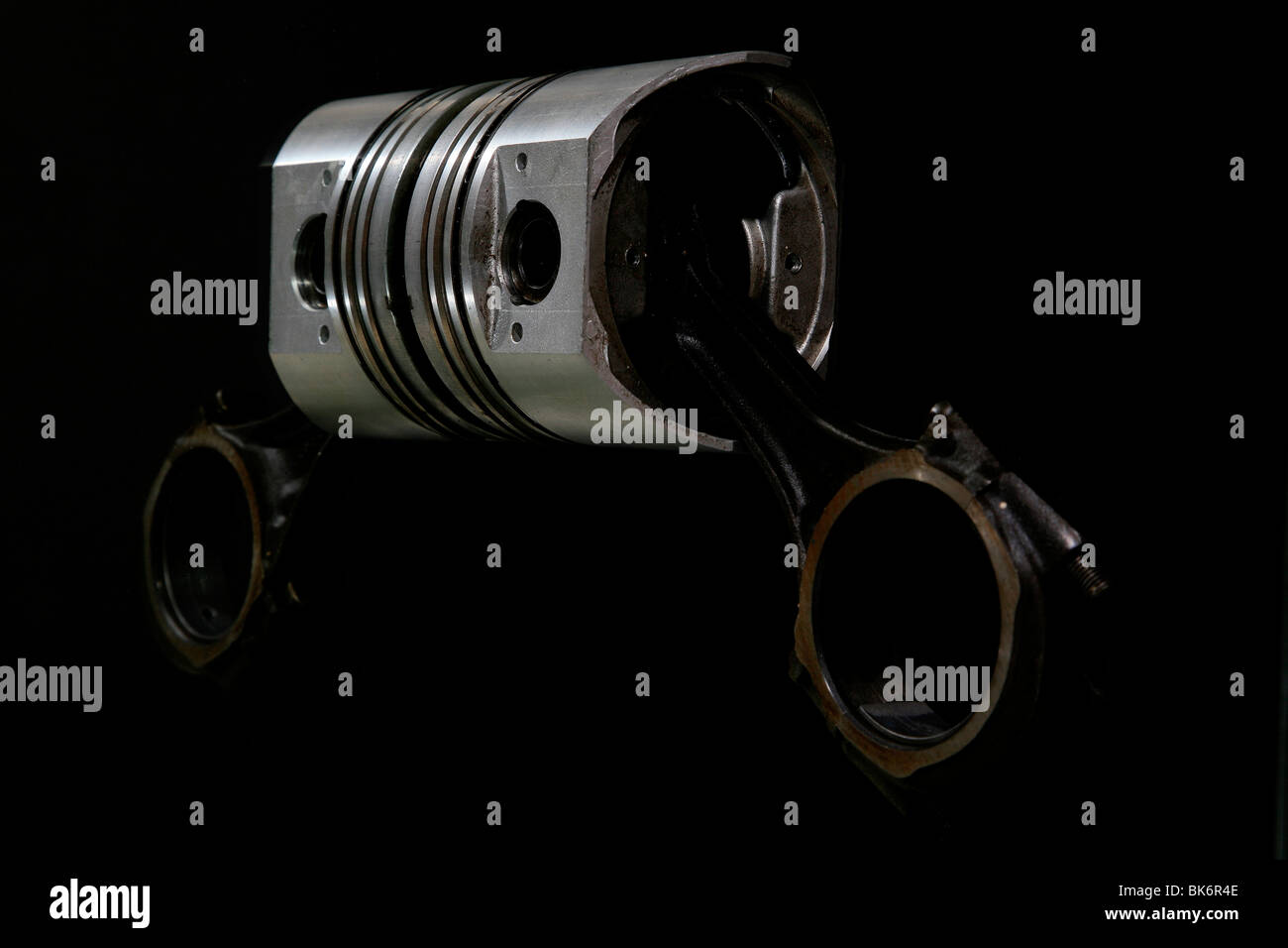 A car piston with a reflection. - Stock Image