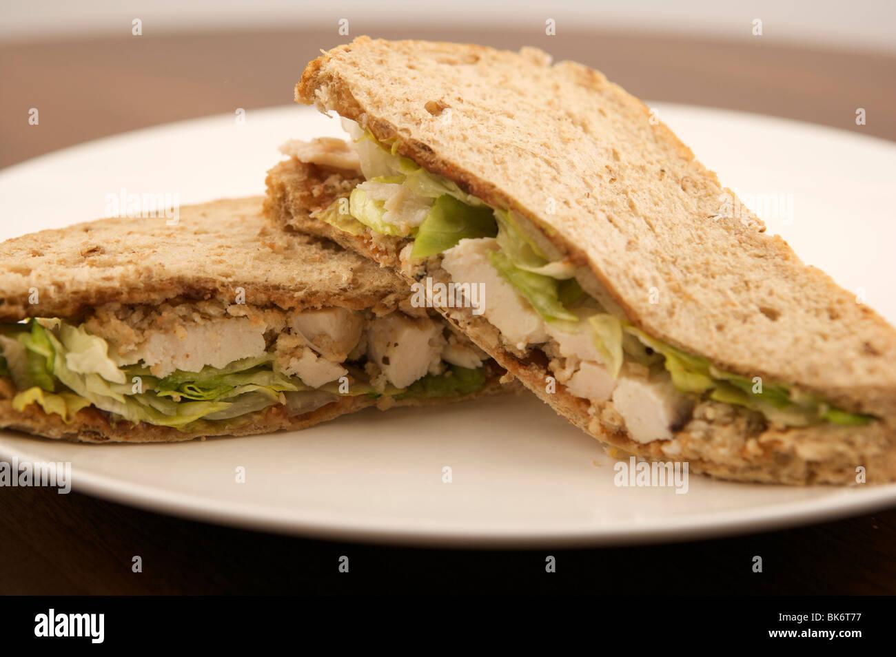 Salad roast chicken sandwich - Stock Image