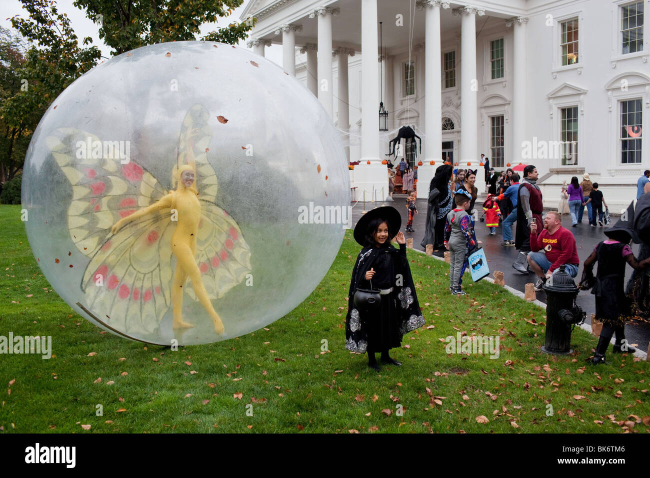 School children participate in Halloween festivities at the North Portico of the White House - Stock Image