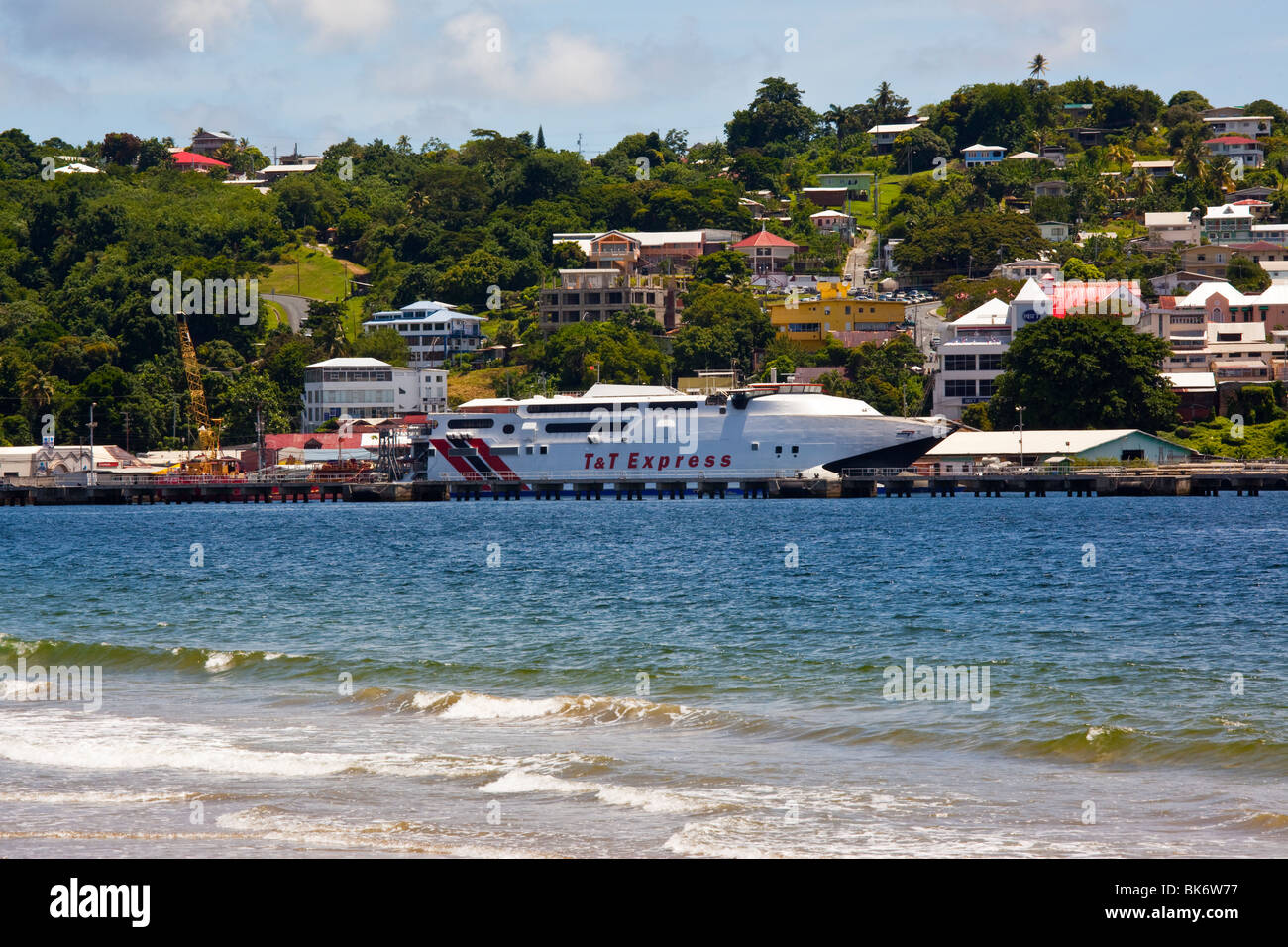 Trinidad and Tobago Spirit, Catamaran Ferry in Port in Tobago - Stock Image