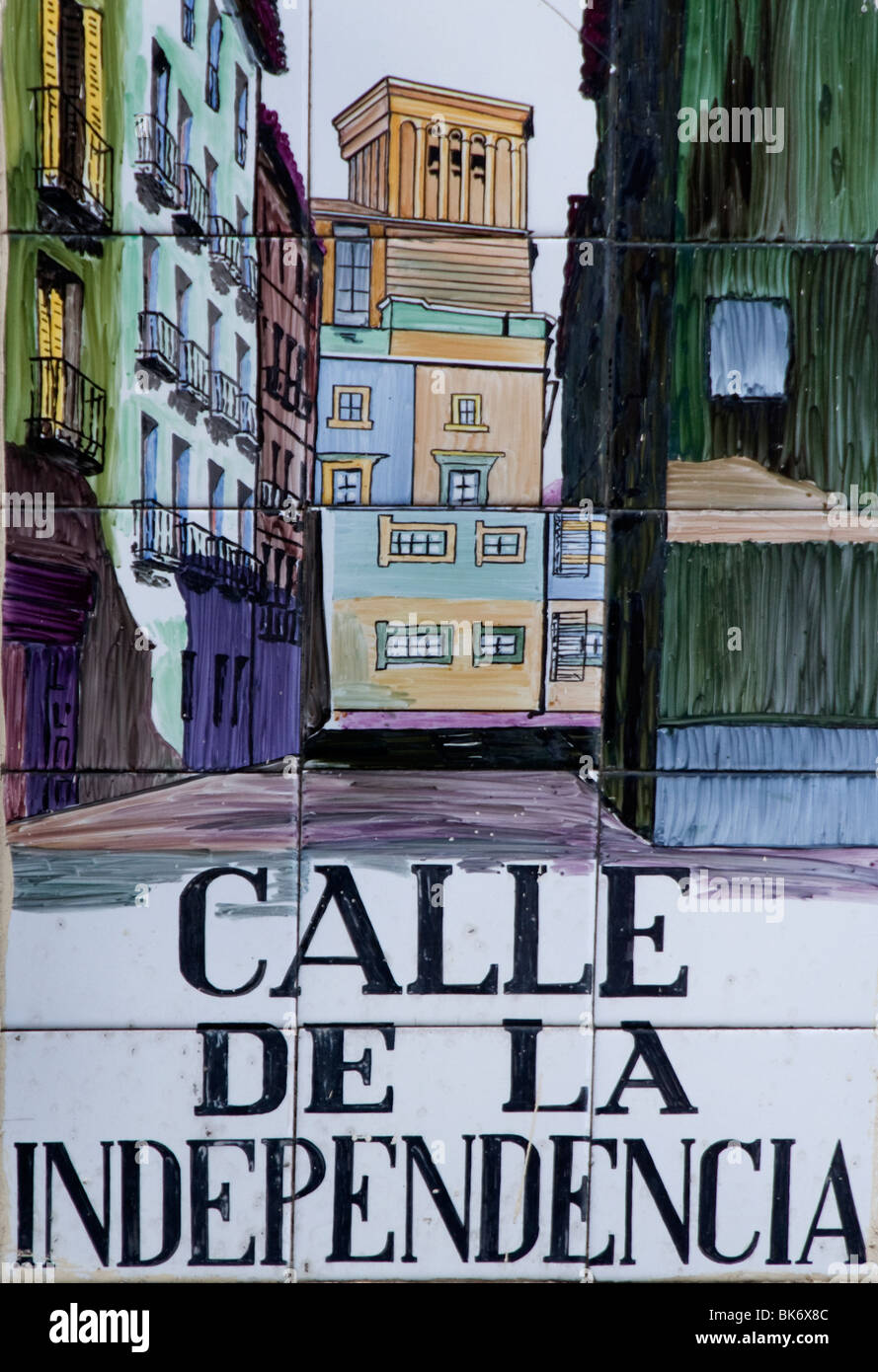 Calle del de la Independencia street of Independence  Madrid Spain street sign Name - Stock Image