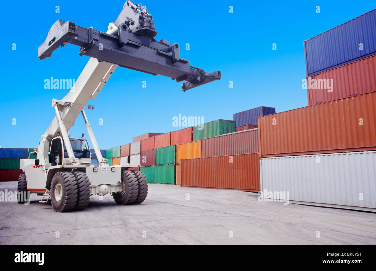 Heavy Lifter in a Shipping Yard. - Stock Image