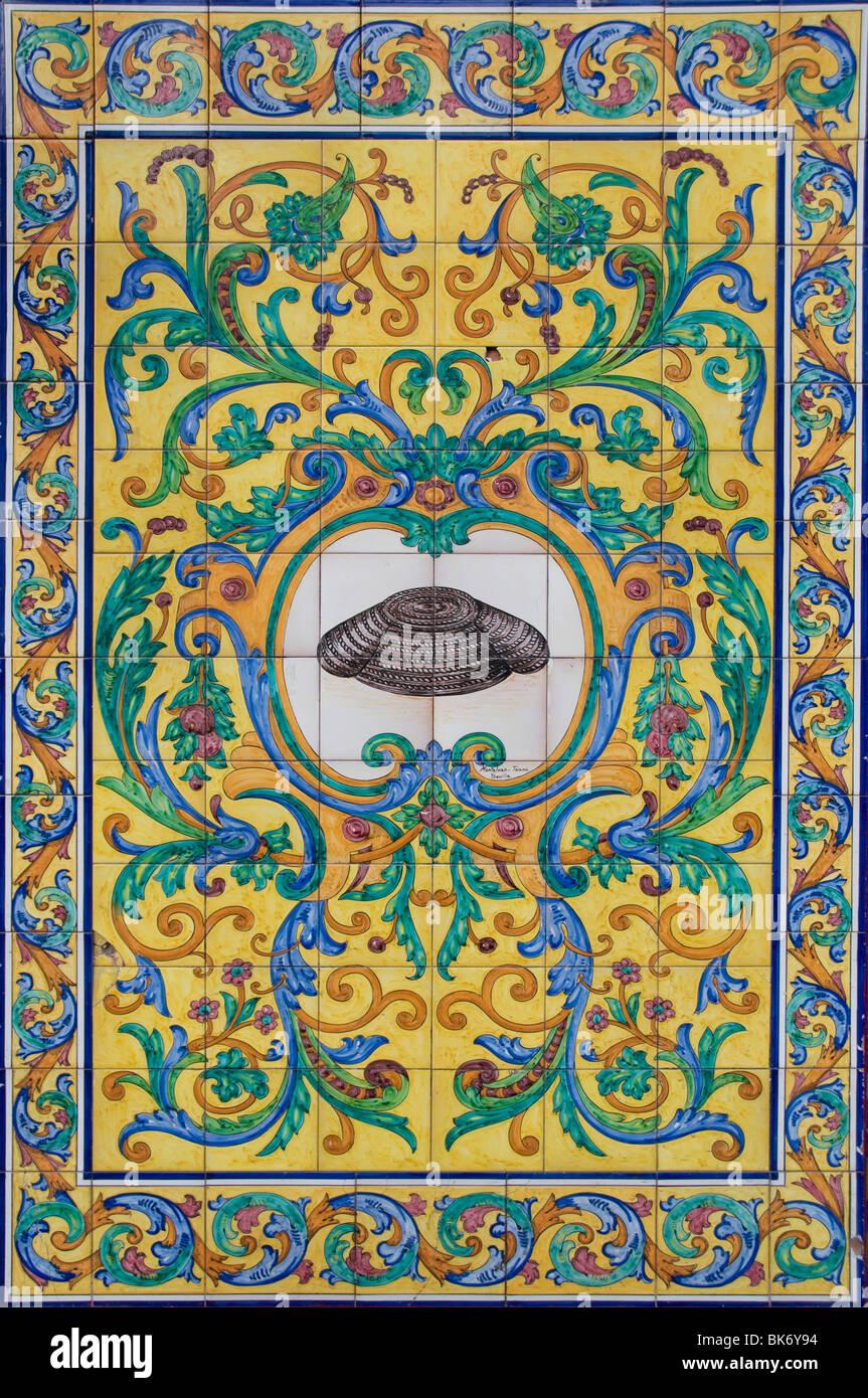 Espana Cani bar off Plaza Santa Ana Madrid Spain wall tiles - Stock Image
