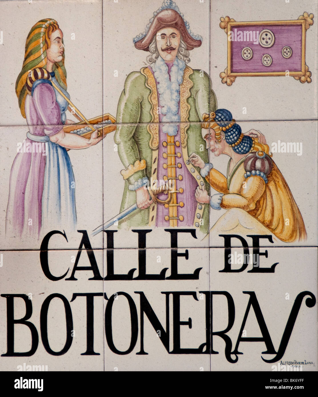 Calle de Botonera Pad Madrid Spain street sign Name - Stock Image