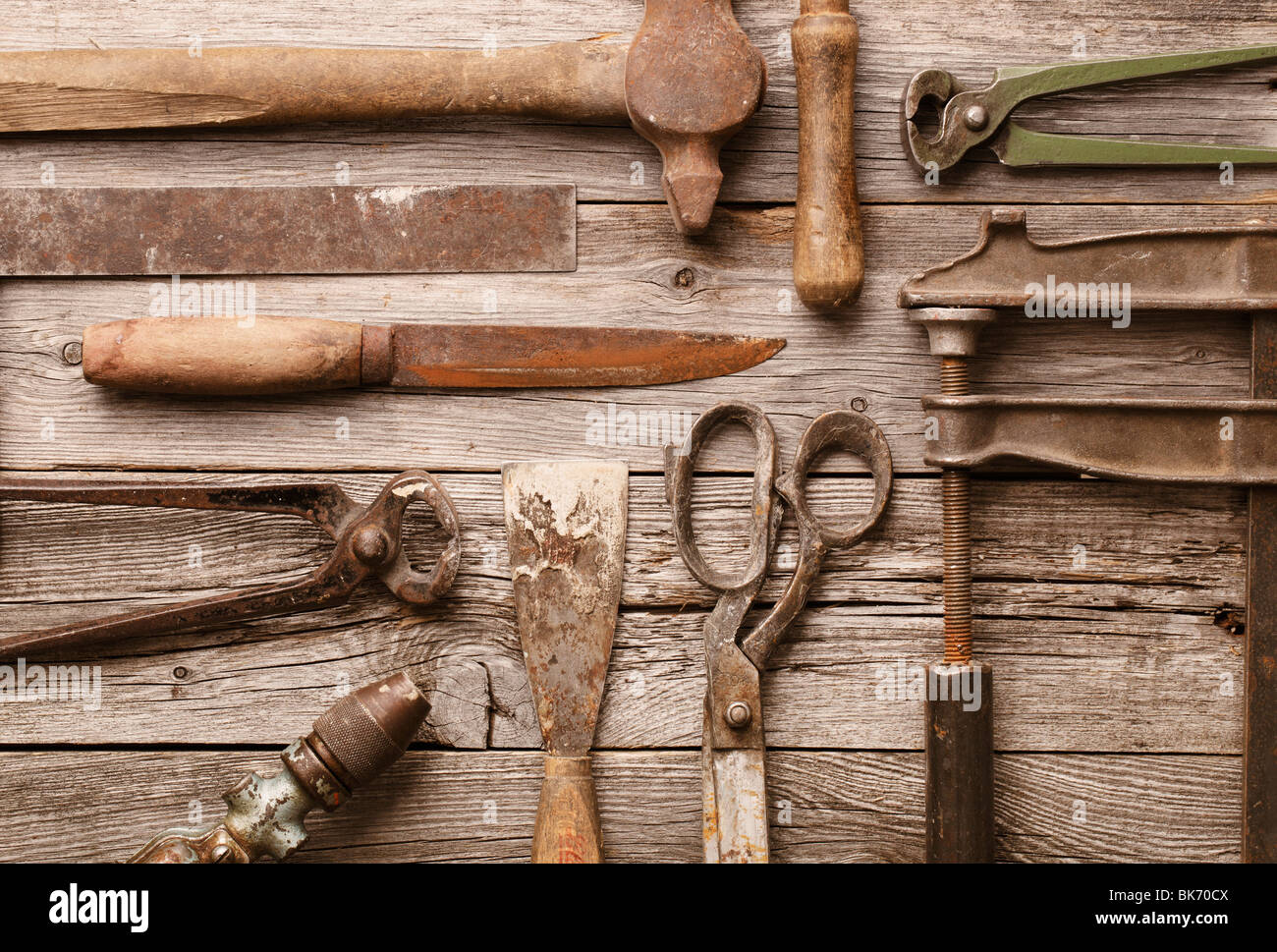 A collection of old rusty tools - Stock Image