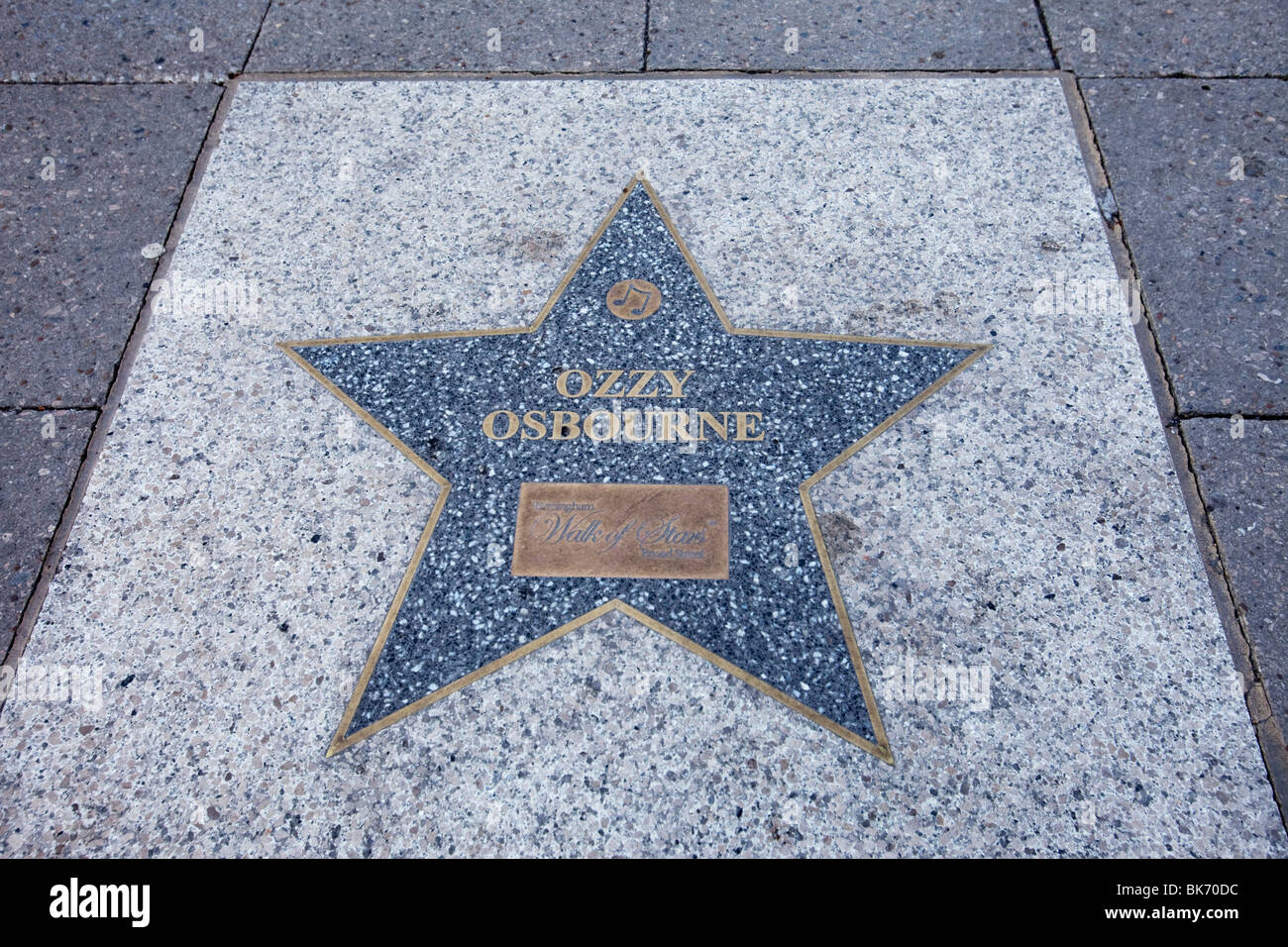 Ozzy Osbourne's star on Broad Street, Birmingham. It is one of the 'Walk of Stars' honouring artists - Stock Image