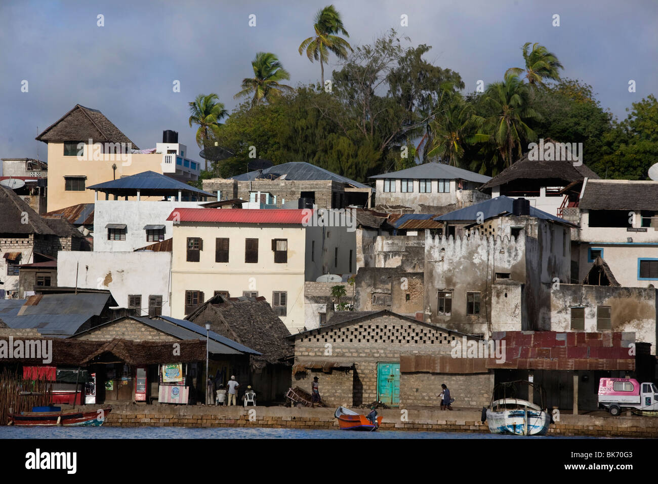 A general view of the sean front of the town of Lamu Island taken on October 10, 2009, Kenya. Stock Photo