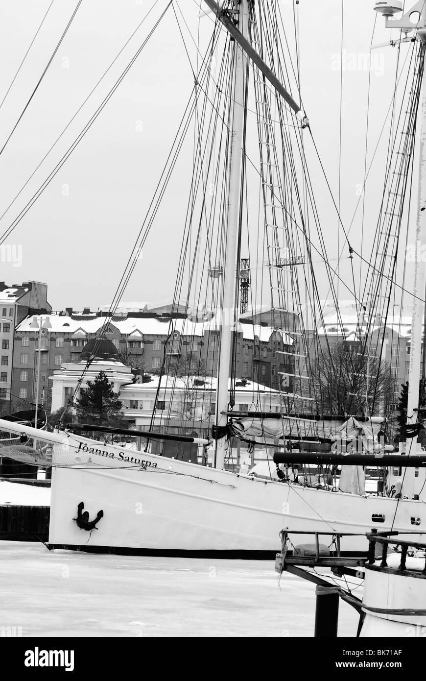 Gaff schooner Joanna Saturna on winter moorings in Helsinki, Finland - Stock Image