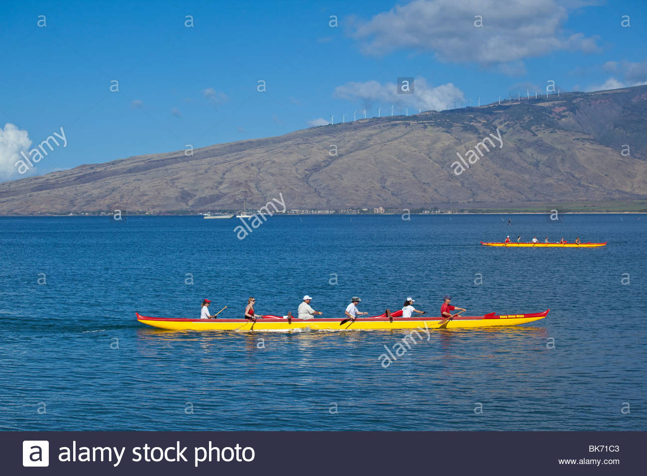 Outrigger canoe at the Kihei Canoe Club in Kihei on the island of Maui in the State of Hawaii USA - Stock Image