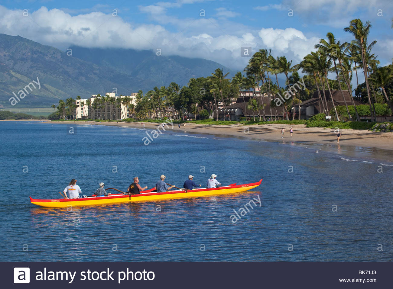 Outrigger canoes at Sugar Beach at the Kihei Canoe Club in Kihei on the island of Maui in the State of Hawaii USA Stock Photo