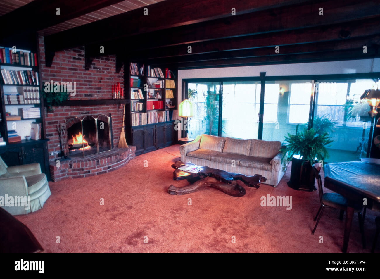 Single Family House, Interior Living Room, Fireplace, Wood Beamed Ceiling, Stock Photo