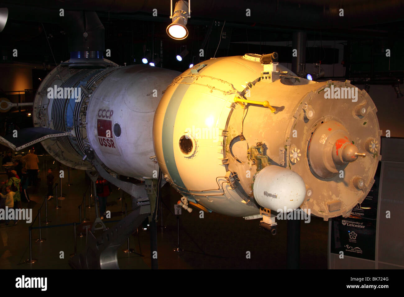 Soyuz space capsule from the Russian space program exhibited at the national space centre leicester - Stock Image