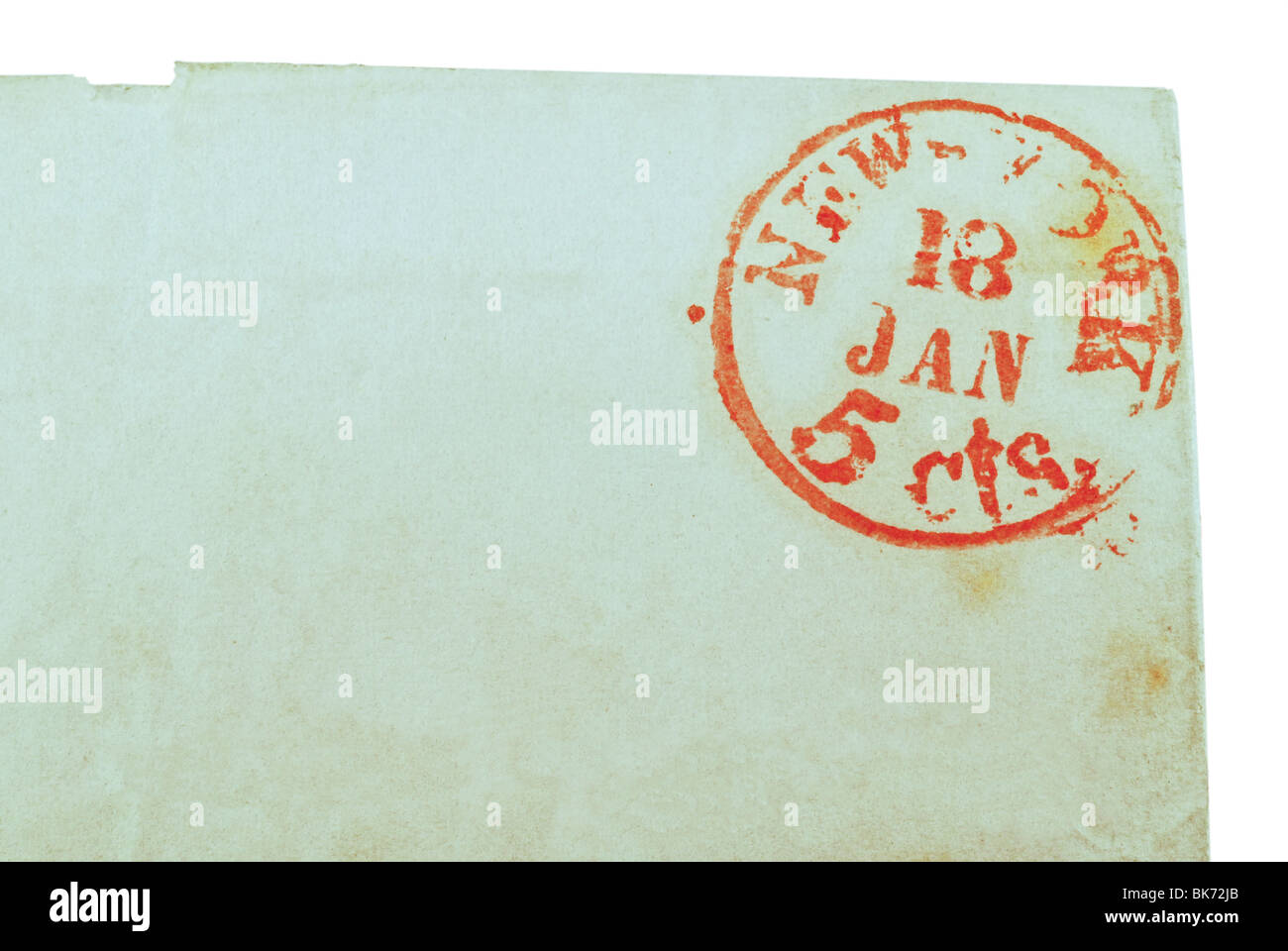 A red New York postmark dated January 18 (1847), 5cts. - Stock Image