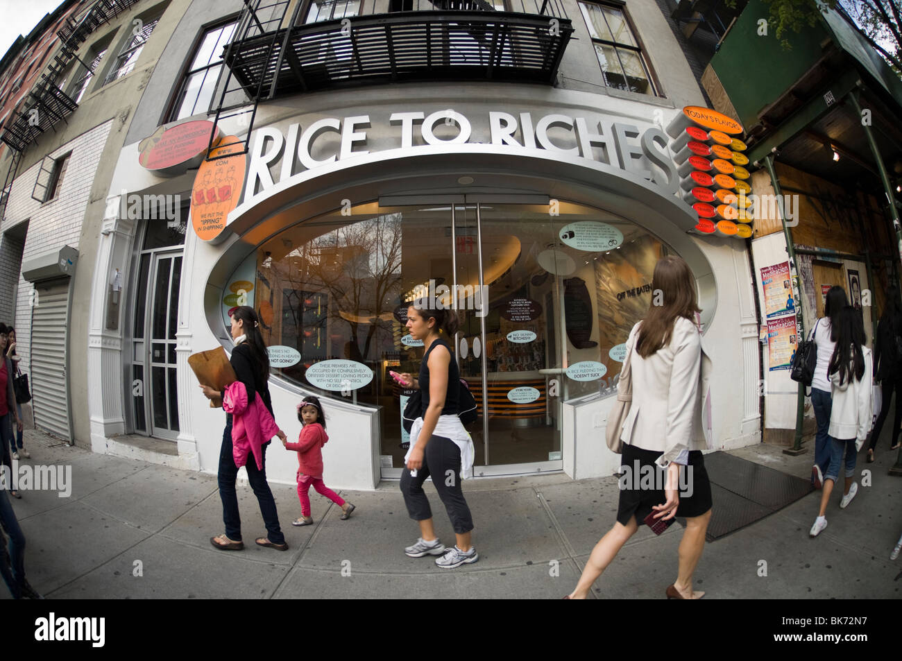 The Rice to Riches restaurant seen in the New York neighborhood of Soho - Stock Image