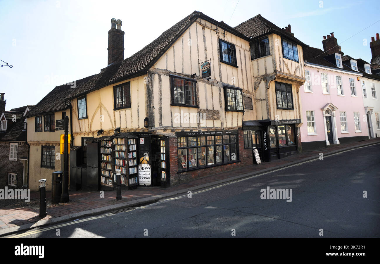 The Fifteenth Century Bookshop in Lewes High Street - Stock Image