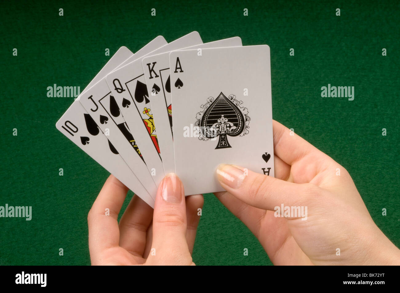 hand with playing cards - Stock Image