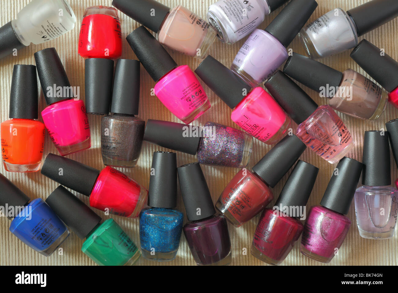 Multicolor Colorful nail polish varnish phials - Stock Image