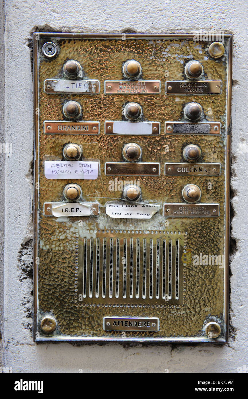 An apartment buzzer in Italy - Stock Image