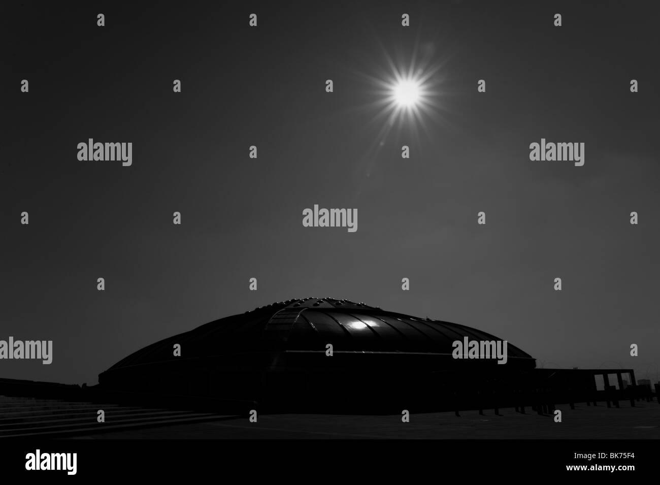 View of the Palau Sant Jordi Stadium in Montjuic, Barcelona, Spain. - Stock Image