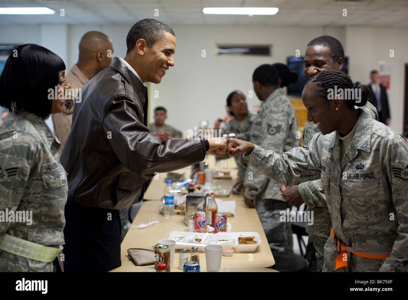 President Barack Obama greets U.S. troops at a mess hall at Bagram Air Field in Afghanistan, March 28, 2010. - Stock Image
