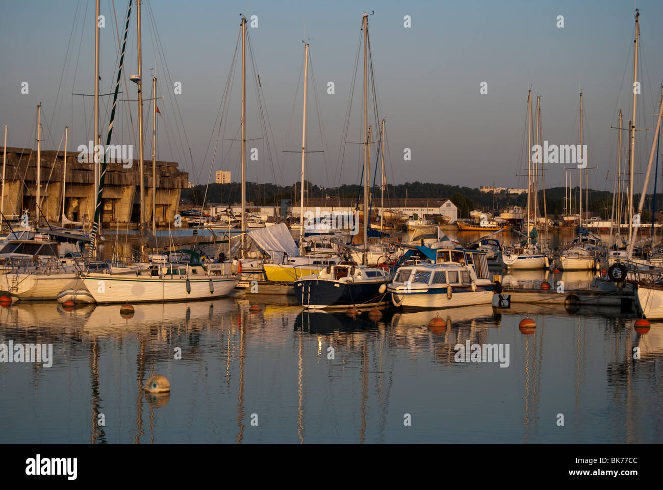 anchored boats Bordeaux France - Stock Image