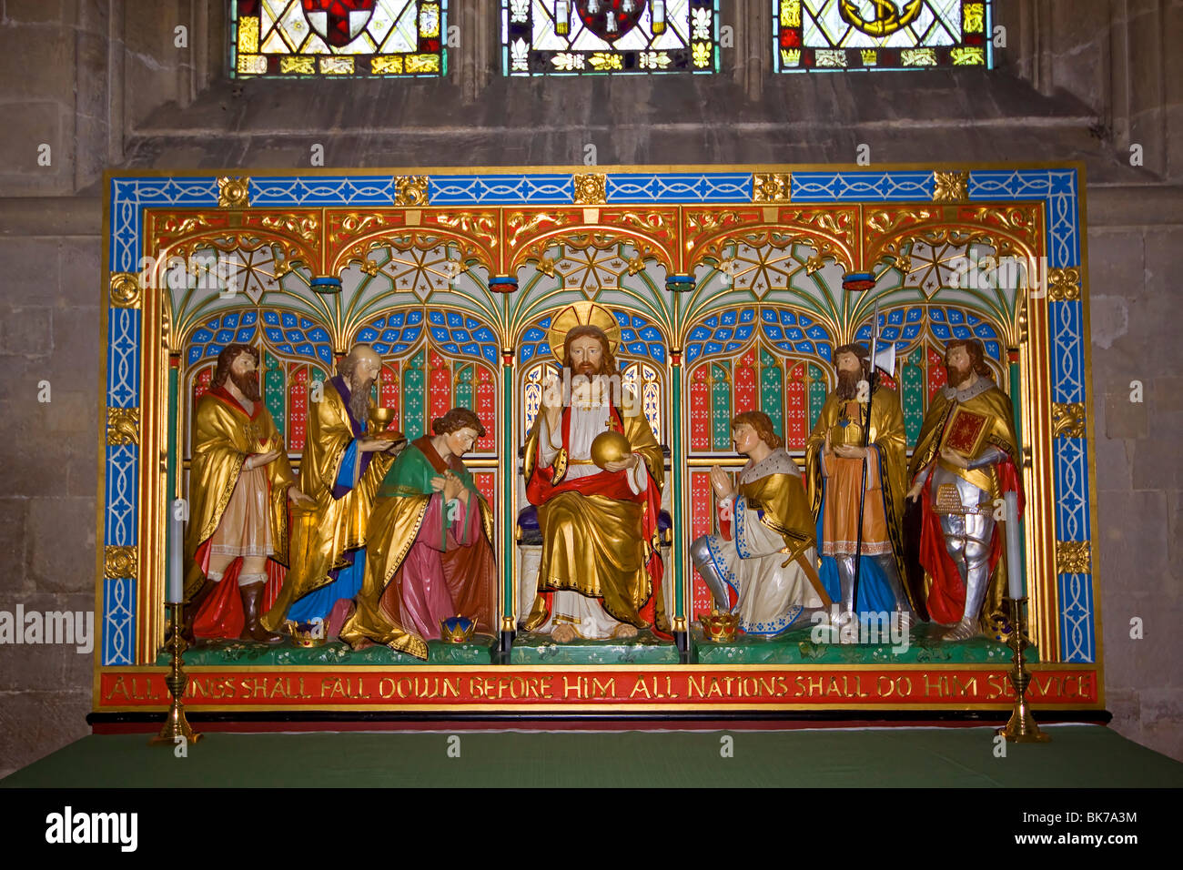 Wells Cathedral Somerset religious panel sculpture Jesus - Stock Image