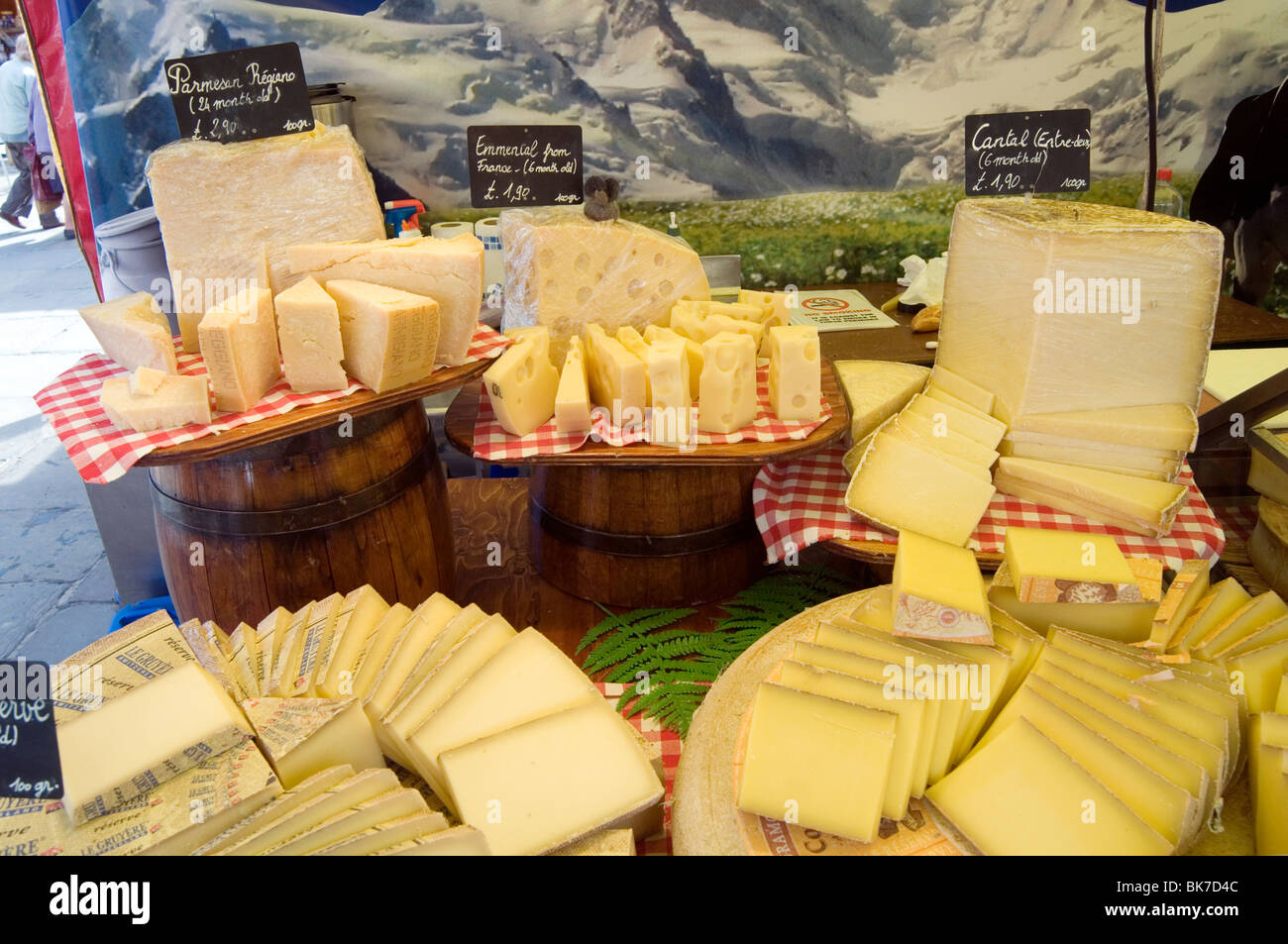 cheese cheesey fromage stall shop stall shops stalls hard dairy product products produce rural milk strong smell - Stock Image