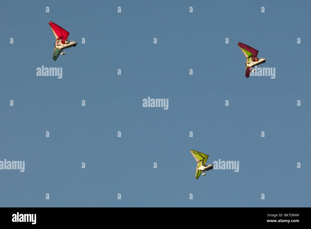Ultralight planes carrying tourists fly near Pokhara, Nepal on Tuesday October 27, 2009. - Stock Image