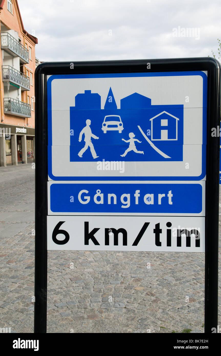 Streetsign warning for pedestrians along Kungsgatan in charming Karlshamn - Stock Image