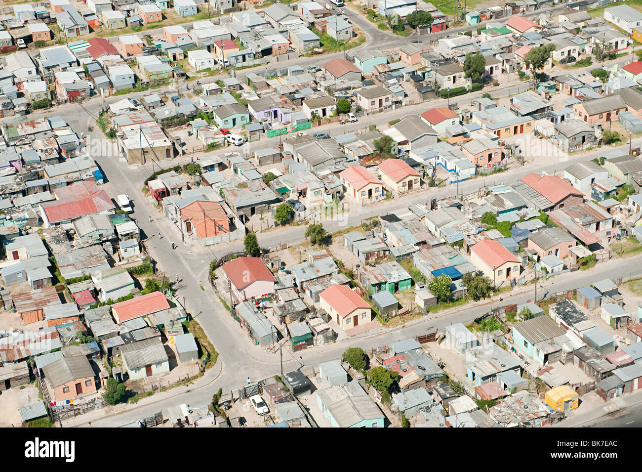 Aerial view of cape town shanty town - Stock Image