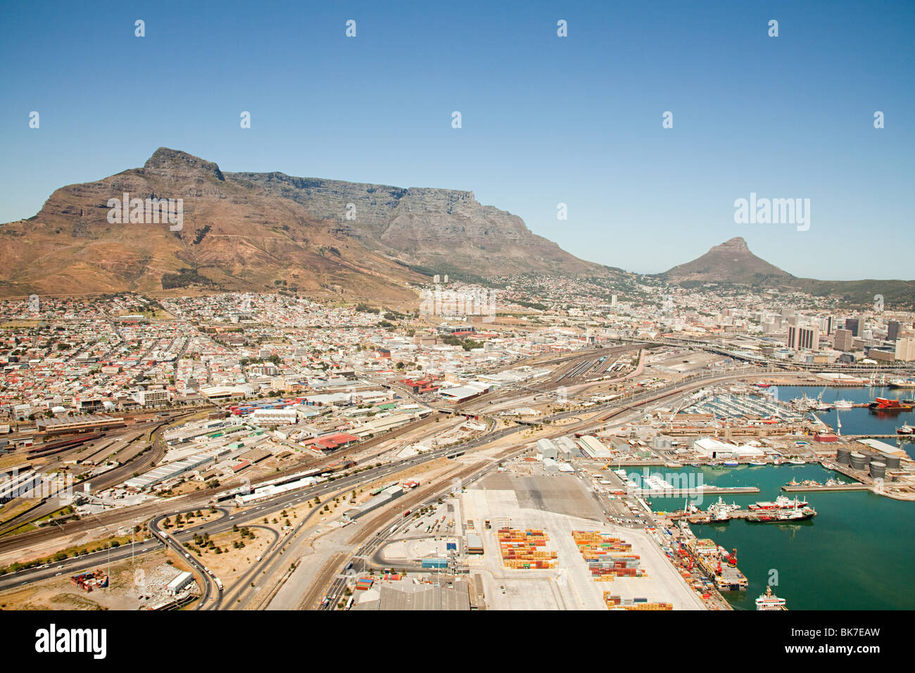 Cape town cityscape and table mountain Stock Photo