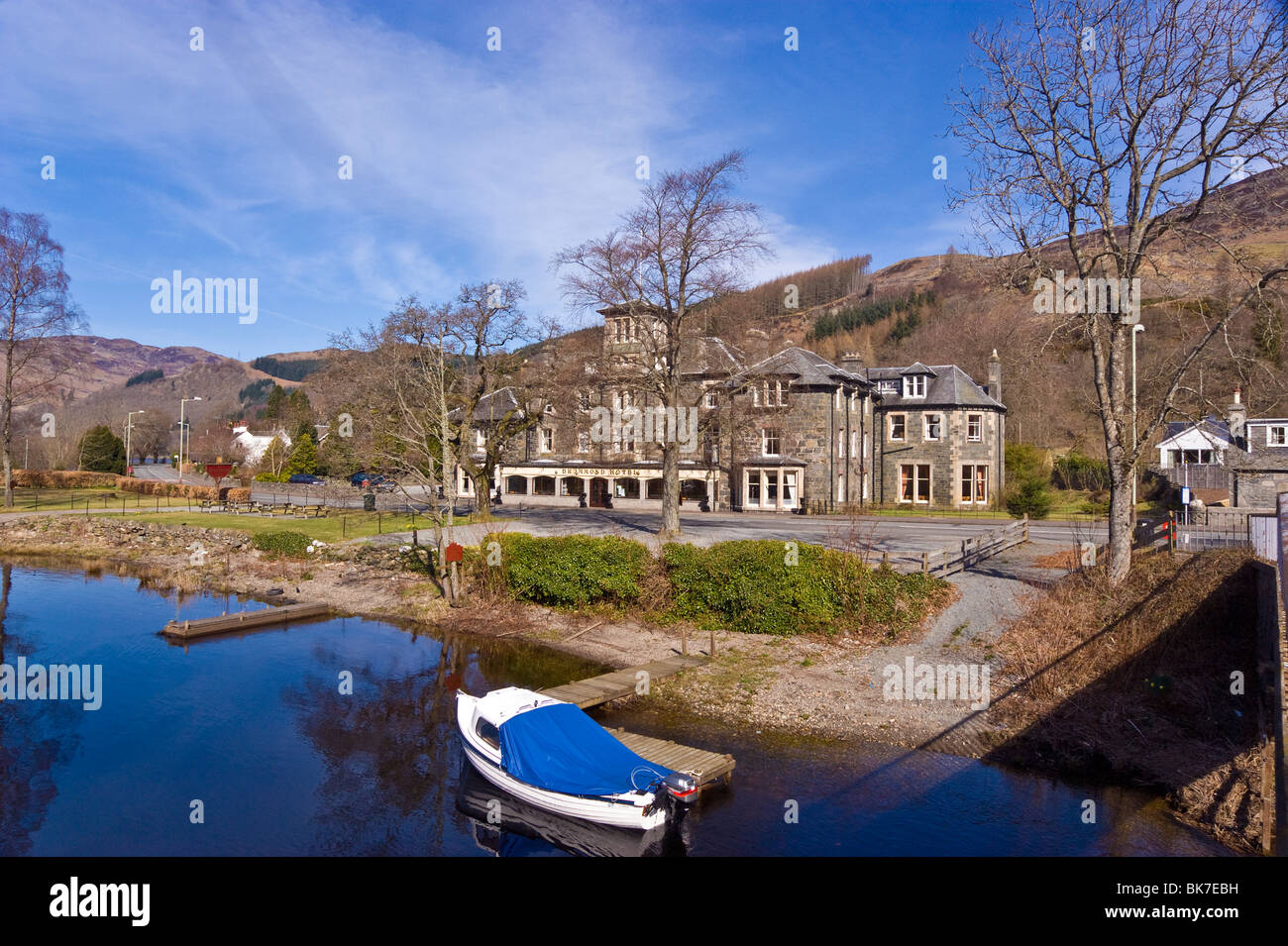 The Drummond Hotel in St Fillans on the shore of Loch Earn in Scotland - Stock Image