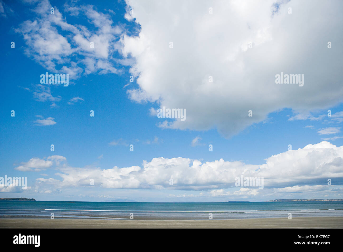 Auckland, big clouds over Hauraki Gulf - Stock Image
