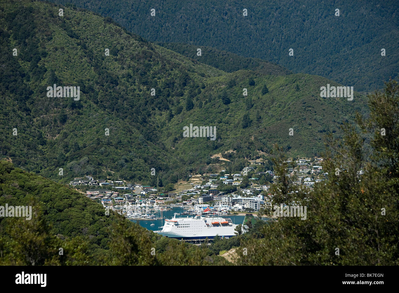Queen Charlotte Sound, aerial view of Picton Harbour with ferry - Stock Image