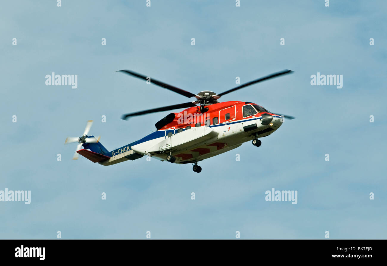 Sikorsky S-92 Helibus Aberdeen Based North Sea Oil Support Transport Scotland - Stock Image