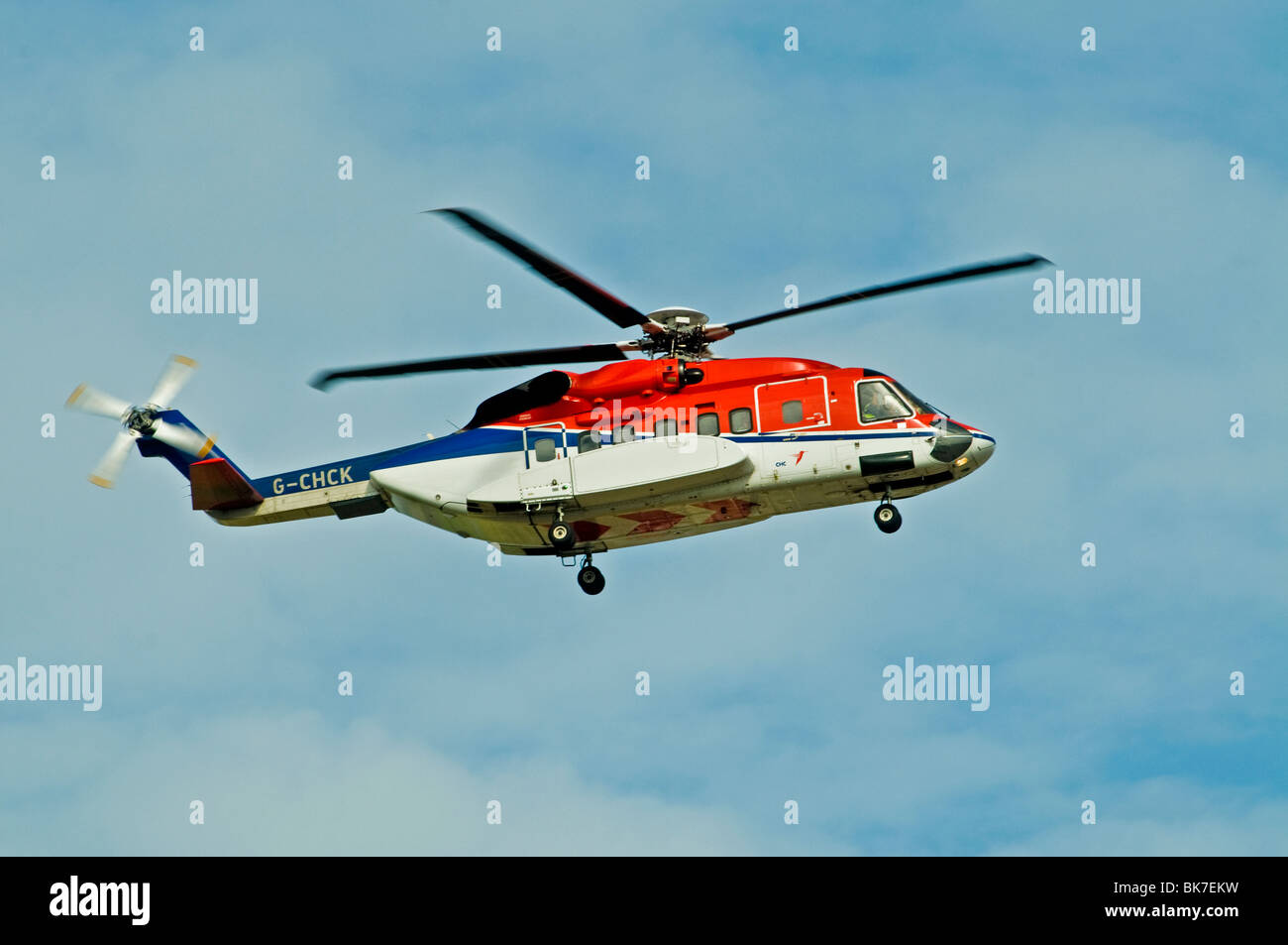Sikorsy S-92 Helibus Aberdeen Based North Sea Oil Support Transport Scotland - Stock Image