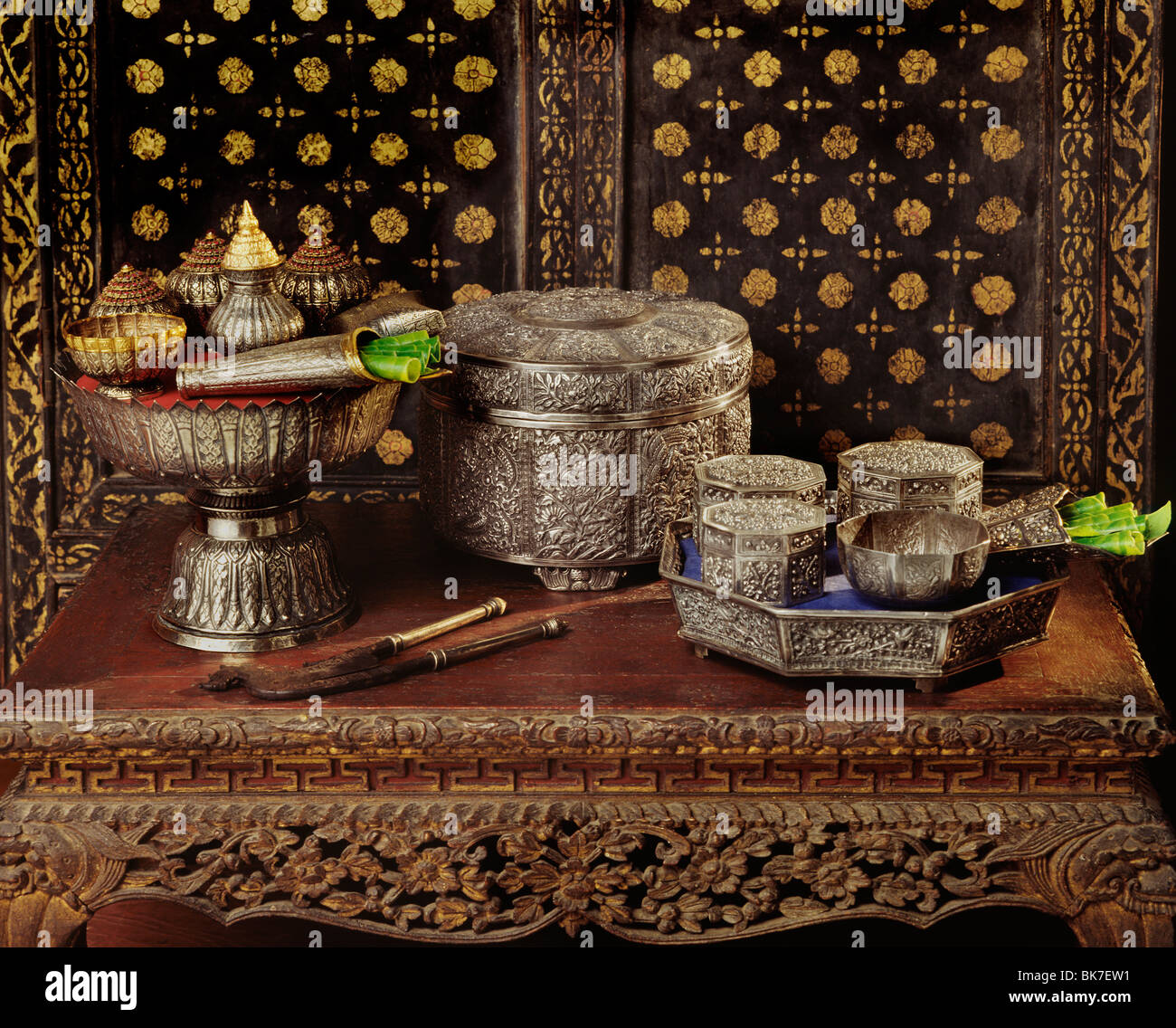 Finely-crafted silver trays and containers used for betel-nut in Thailand, Southeast Asia, Asia - Stock Image