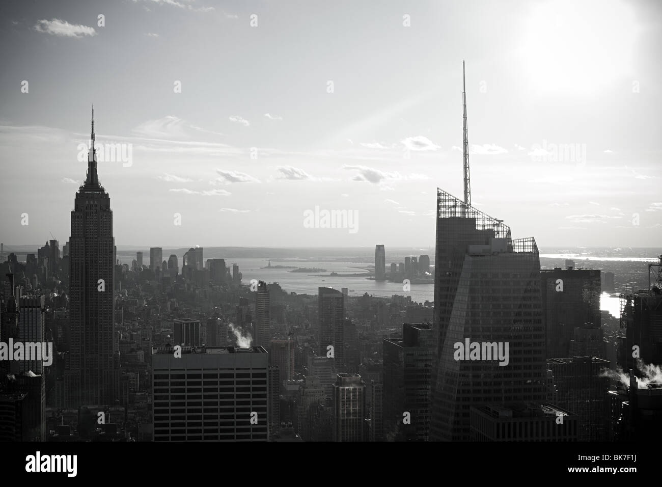 Empire state building and hudson river - Stock Image