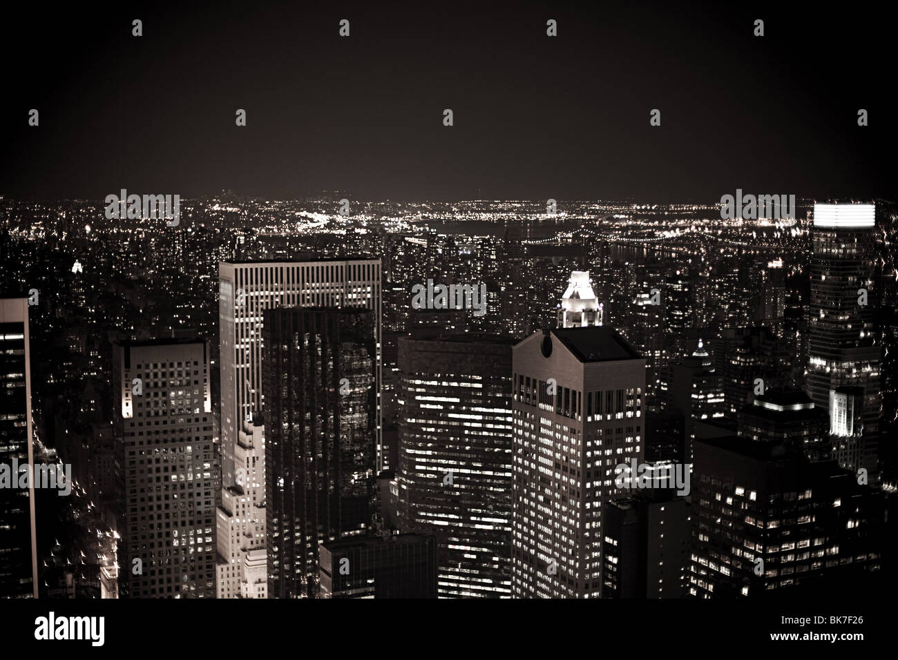 Midtown manhattan at night - Stock Image