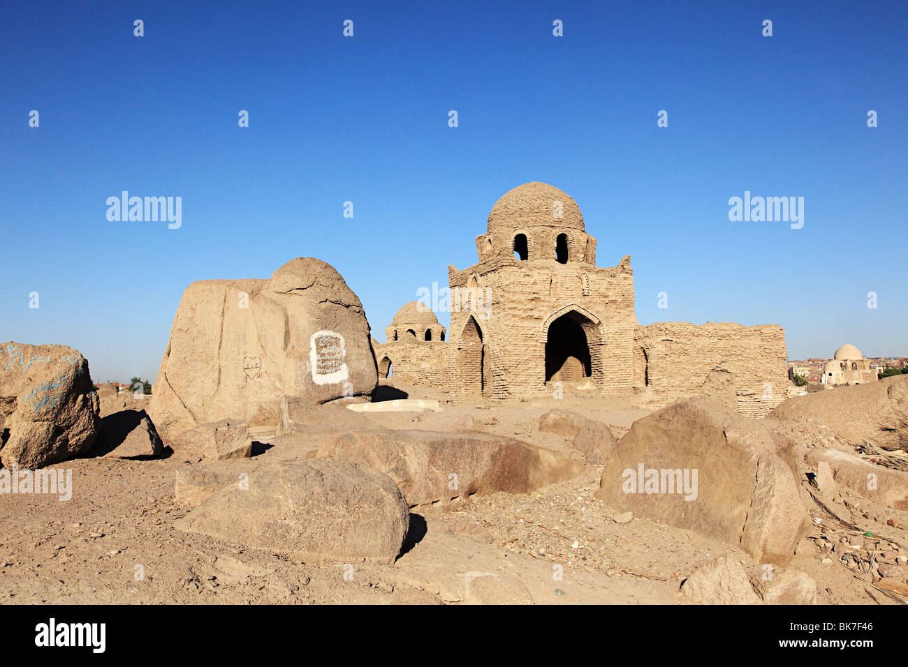 Ancient muslim cemetery in aswan - Stock Image