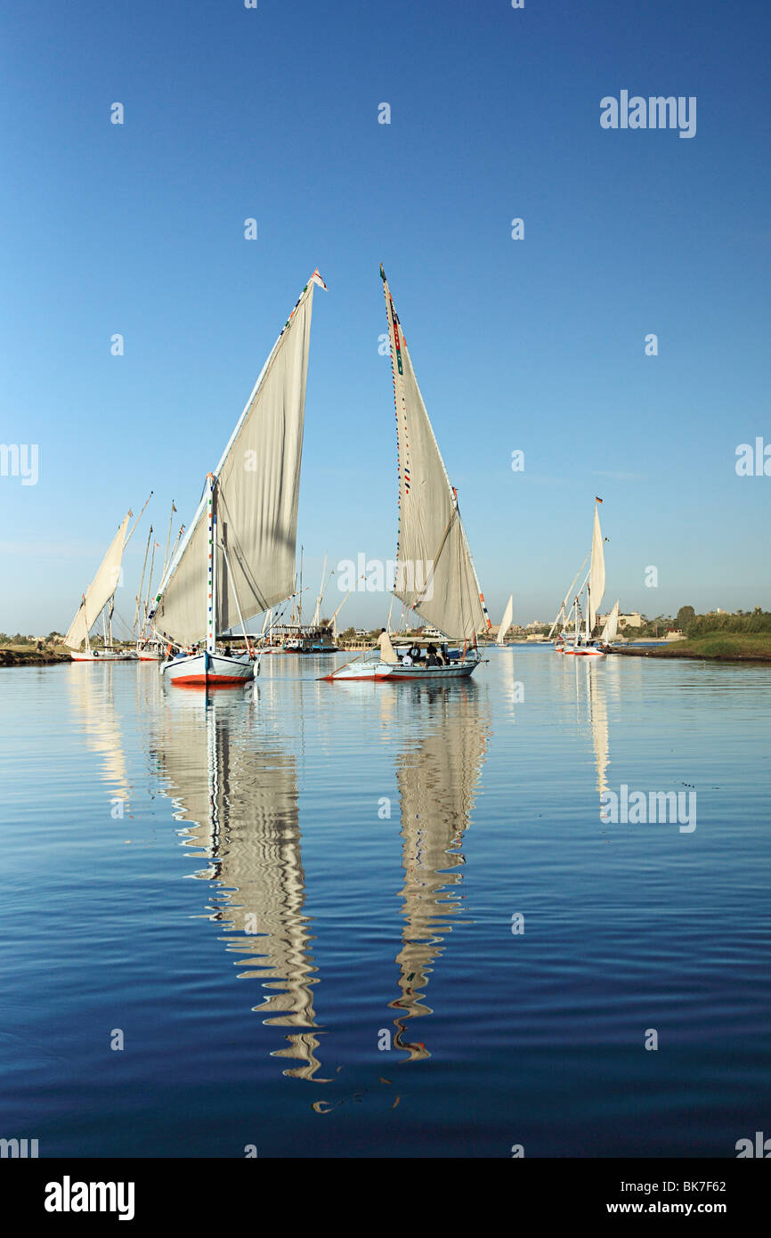 Felucca boats on river nile at luxor - Stock Image
