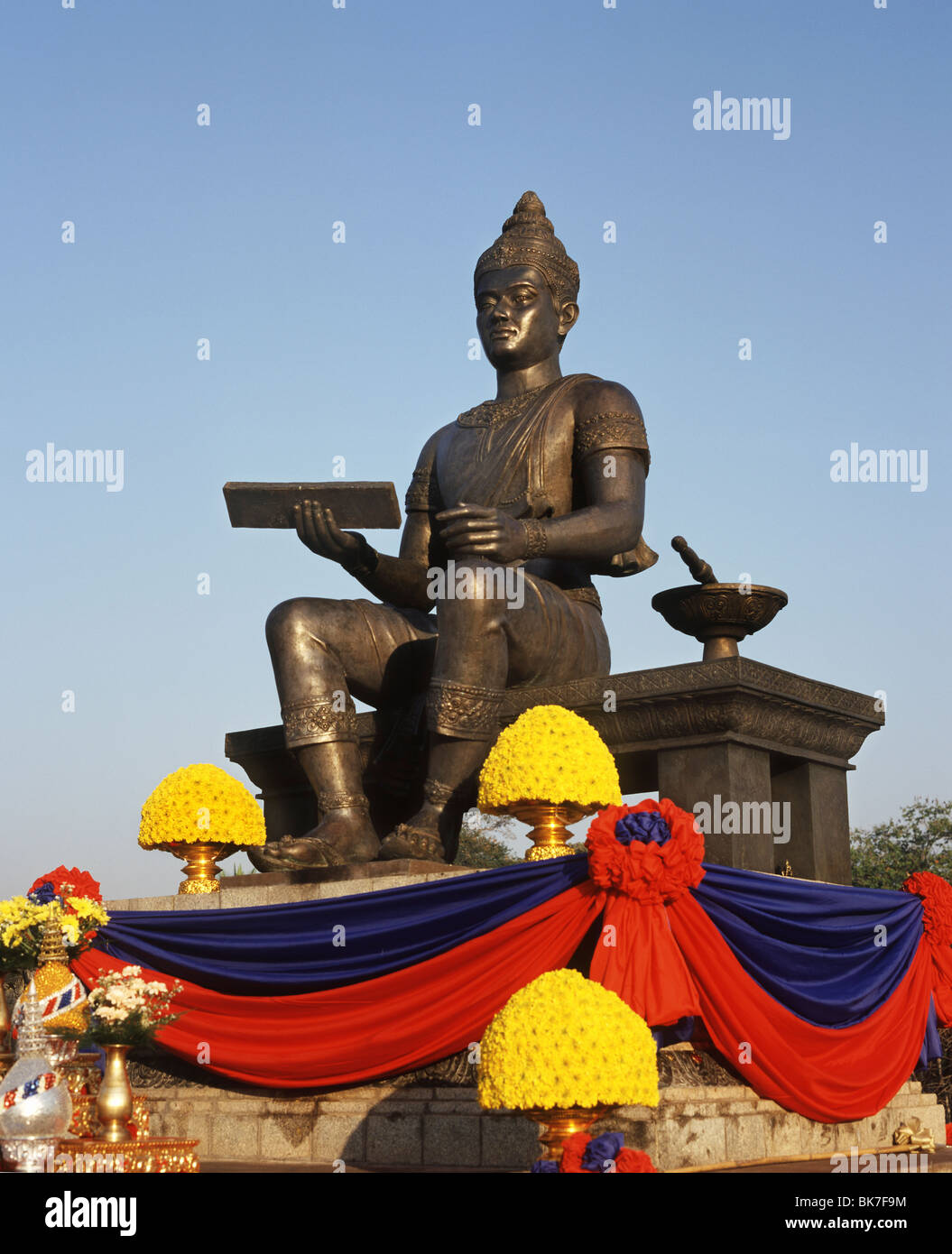 Contemporary statue to commemorate King Ramkamheng, the founder of the first Thai Kingdom, at Sukhothai, Thailand - Stock Image