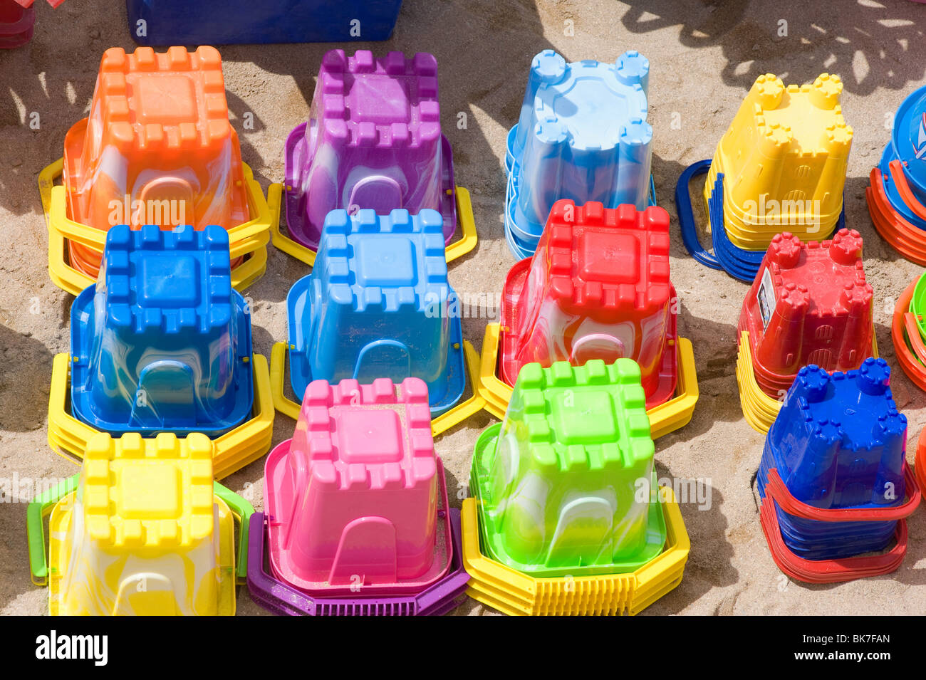 Beach buckets in newquay - Stock Image