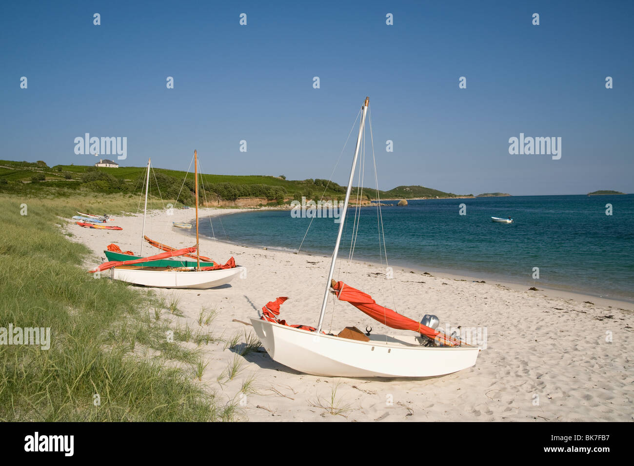Higher town beach on st martins in the isles of scilly - Stock Image