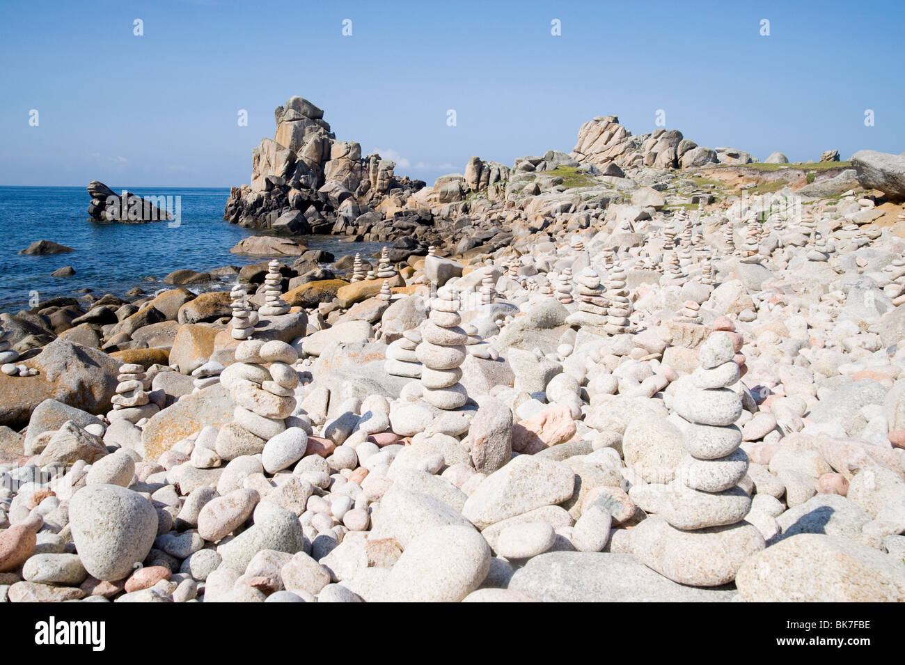 Pebbles on st agnes beach in the isles of scilly - Stock Image