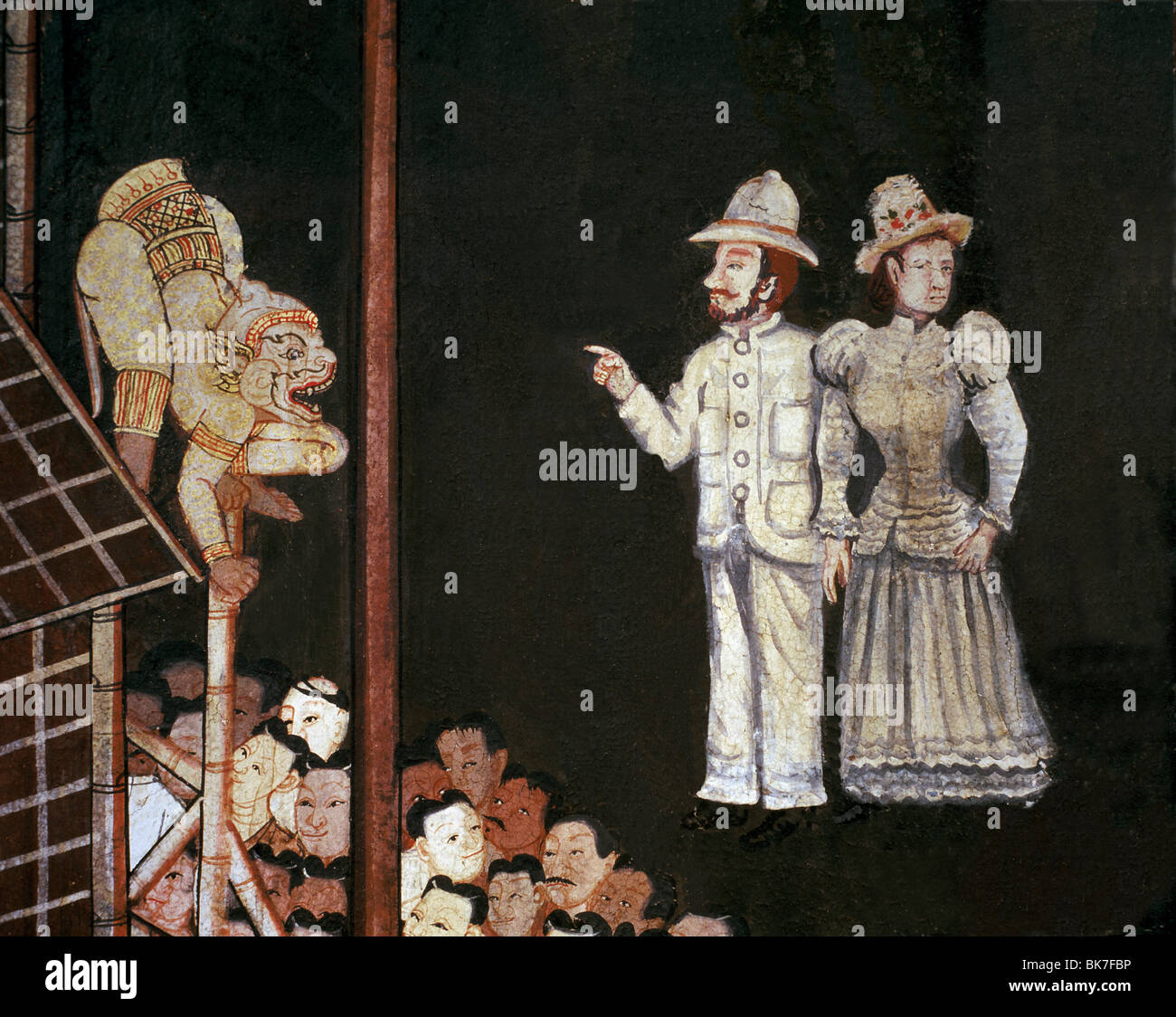 Early 20th century mural showing foreigners viewing a Ramakien show, Wat Benjamabopit, Bangkok, Thailand, Southeast - Stock Image