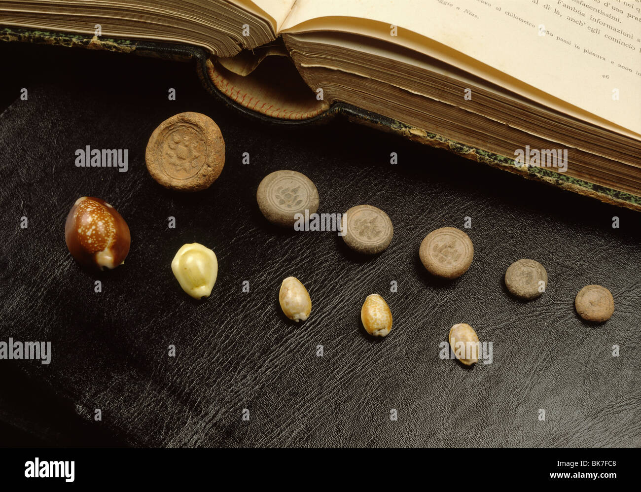 Cowrie shell money and terracota coins from Sri Vijaya period in Thailand, Southeast Asia, Asia - Stock Image