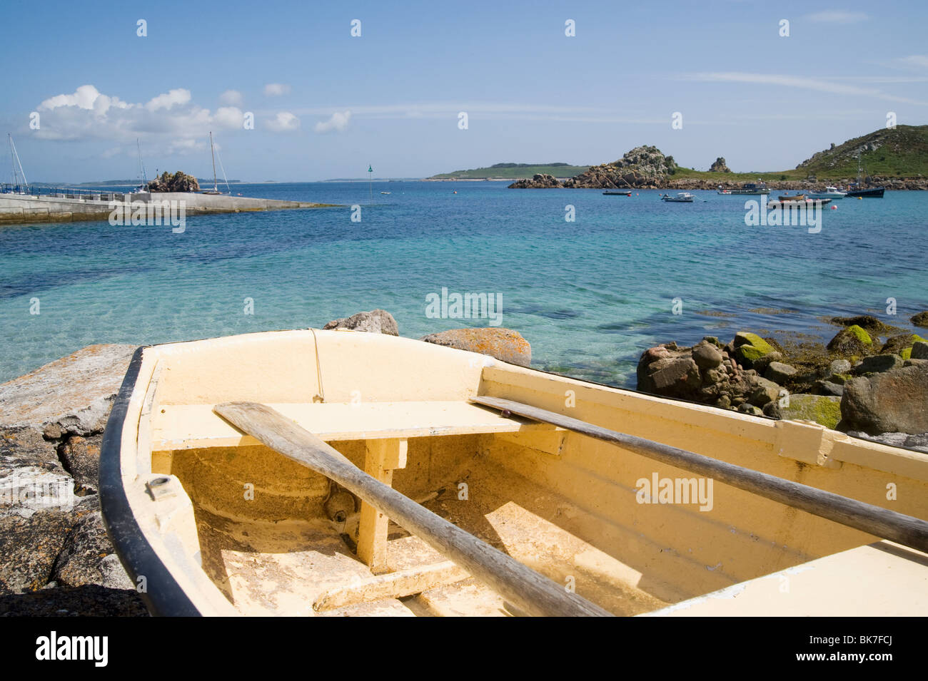 Rowing boat on st agnes in the isles of scilly - Stock Image