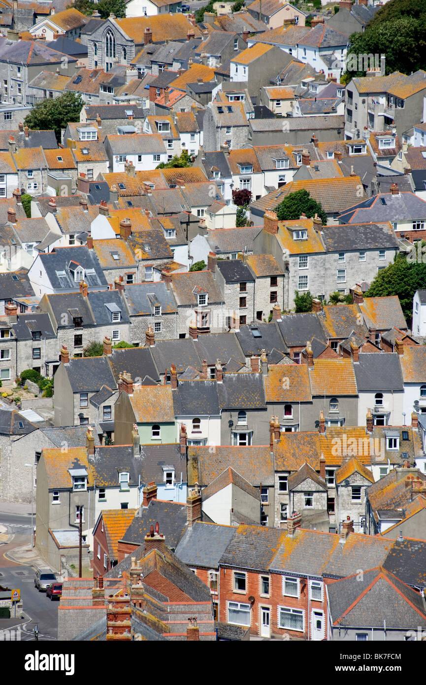 Terraced houses on isle of portland - Stock Image
